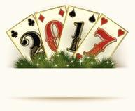 Nya kort för poker för 2017 år kasinobakgrund Arkivfoto