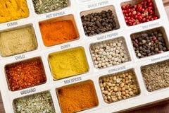 Nya kryddor stänger sig upp som en bakgrund Top beskådar Turkisk kokkonst arkivbilder