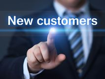 Nya kunder som annonserar begrepp för teknologi för marknadsföringsaffärsinternet Arkivfoto