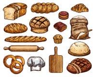 Nya läckra mjuka bageriprodukter skissar uppsättningen Royaltyfri Bild
