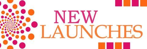 Nya lanseringar rosa orange Dots Horizontal stock illustrationer