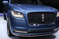 Nya Lincoln Navigator 2018 på skärm på norden - amerikansk internationell auto show Arkivbilder