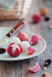 nya lychees Arkivfoton