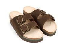 Nya man sandals som isoleras på vit Arkivfoton