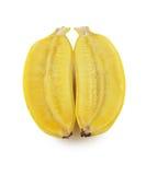 Nya mogna bananer samlar ihop isolerat på vit bakgrund Arkivbild