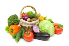 Nya mogna grönsaker som isoleras på vit bakgrund Royaltyfri Fotografi