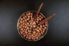Nya mogna hasselnötter som är klara att äta i en bunke Royaltyfri Bild