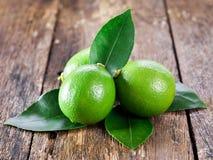 Nya mogna limefrukter på trä Arkivfoto