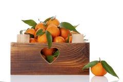 Nya mogna mandarines i träspjällåda Royaltyfri Bild