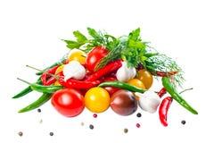 Nya mogna röda, gula svarta körsbärsröda tomater Royaltyfri Foto