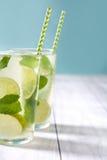 Nya Mojito med limefrukt och mintkaramellen background card congratulation invitation Royaltyfri Foto