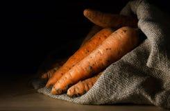 Nya morötter i säcken Fotografering för Bildbyråer