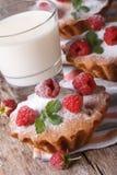 Nya muffin med halloncloseupen och mjölkar lodlinje Fotografering för Bildbyråer