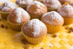 Nya muffin på gul servett royaltyfri fotografi