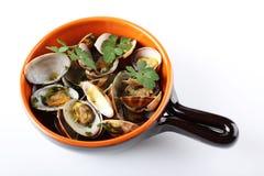 Nya musslor i krukan Fotografering för Bildbyråer