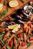 Nya musslor, kräfta, räka HAVS- UPPLÄGGNINGSFAT arkivfoton