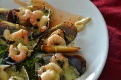 Nya musslor med räka, örter och kryddig sås Fotografering för Bildbyråer