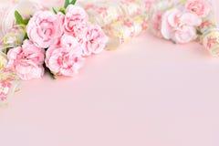 Nya nejlikor på den rosa papperen, baner för moderdag Arkivbilder