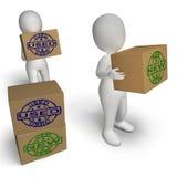 Nya och använda askar visar nyligen ankommna och begagnade produkter Arkivbild