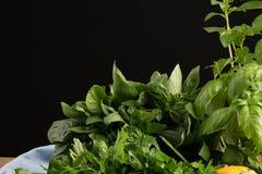 Nya och aromatiska örter på en svart bakgrund Organiska healthful filialer av persilja och basilika för grekisk sallad arkivfoto