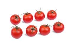 Nya och ljusa röda tomater som isoleras på en vit bakgrund Uppsättning av organiska tomater Grönsaker för veggiefrukost Fotografering för Bildbyråer