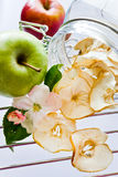 Nya och torkade äppleskivor i en glass krus Arkivfoto