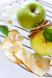Nya och torkade äppleskivor med den kanelbruna kryddan Arkivfoton