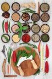 Nya och torkade örter och kryddor royaltyfri bild