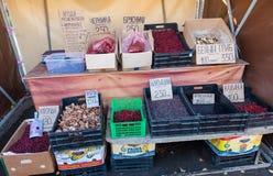 Nya organiska champinjoner och bär som är till salu på bondefläcken Royaltyfri Fotografi