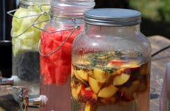 Nya organiska fruktsaftkrukor Arkivbilder