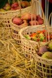 Nya organiska grönsaker i korgar som göras av handgjord bambu Royaltyfri Foto