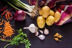 Nya organiska grönsaker på mörk trälantlig bakgrund, bästa sikt Arkivfoto