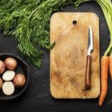 Nya organiska lantgårdgrönsaker: morötter, potatisar, nya örter, kryddor och olja på ett mörker texturerade bakgrund med a Fotografering för Bildbyråer