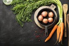 Nya organiska lantgårdgrönsaker: morötter, potatisar, nya örter, kryddor och olja på ett mörker texturerade bakgrund med a Royaltyfri Foto