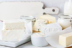 Nya organiska mejeriprodukter Ost smör, gräddfil, yoghurt och mjölkar royaltyfria bilder