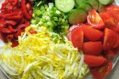 Nya organiska skivade grönsaker på den vita plattan på trätabellen Nära övre, selektivt fokuserar Royaltyfria Bilder