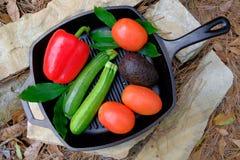Nya organiska trädgårds- grönsaker i panna på en sten Arkivbild