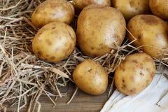 Nya potatisar på trätabellen Arkivbild