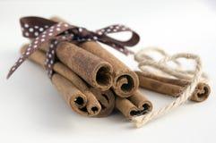Nya rå kanelbruna pinnar på vit bakgrund som bands med brunt, prack pilbåge- och juterepet fotografering för bildbyråer