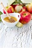 Nya röda äpplen med honung Royaltyfria Foton