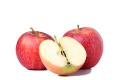 Nya röda äpplen som isoleras på vit Apple skiva på vit bakgrund royaltyfri foto