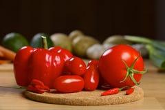 Nya röda grönsaker på ett träbräde Royaltyfria Bilder