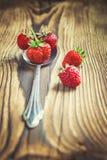 Nya röda jordgubbar i silverskeden Royaltyfria Bilder