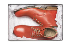 Nya röda skor i ask Royaltyfria Bilder