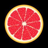 nya r?da grapefruktskivor F?r design Isolerat p? svart I en realistisk stil N?rbilden Saftiga tropiska frukter moget smakligt royaltyfri foto