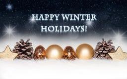 Nya år och julkort med guld- garneringar på snöig, kallt, blått, bakgrund Royaltyfri Fotografi