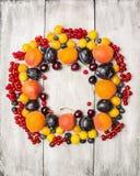 Nya röda vinbär, plommoner, björnbär, körsbär, blåbär, aprikors på en vit wood bakgrund, bästa sikt, ram Royaltyfri Fotografi