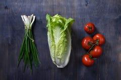 Nya receptingredienser för grön sallad på trätabellen, förbiser skottet Grönsallat tomater, vårlök Arkivbilder