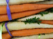 Nya regnbågemorötter som är orange och som är vita på marknaden som binds med lilor, tvinnar royaltyfri bild