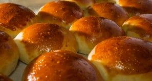 Nya rullar för hemlagat bröd med sesam kärnar ur Arkivbild